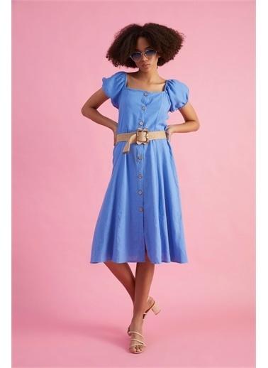 Z Giyim Kadın  Kahverengi  Kare Yaka Düğmeli Midi Boy Elbise Mavi